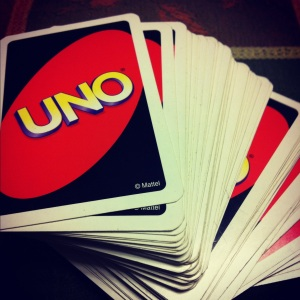 Actual deck of UNO cards I have been victorious over my nieces with for the last 11 years. I show NO mercy.