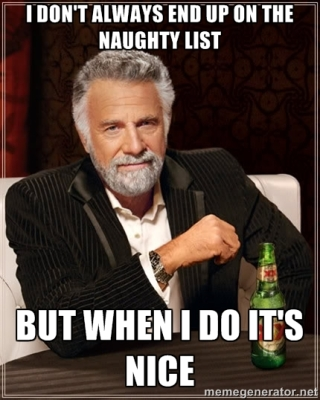 "I haven't used the ""Most Interesting Man In The World"" meme in a while and thought this would be a NICE opportunity to use it again. See what I did there? Nice? Get it??? Forget it. This is why being naughty is more fun."